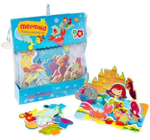 Construct this mermaid-themed floating island by slotting together the colourful foam pieces. Mix and match the underwater elements to create different 3D scenes, or even stick them to the bath tub or walls tiles for extra mermaid fun! #bathtoys #mermaid