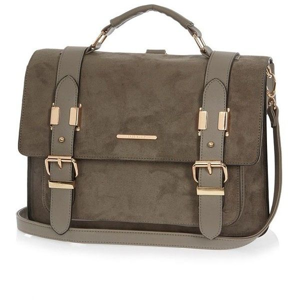 River Island Grey large faux-suede satchel handbag ($60) found on Polyvore featuring bags, handbags, satchel, bags / purses, grey, women, top handle satchel handbags, back pack purse, satchel purse and gray handbags