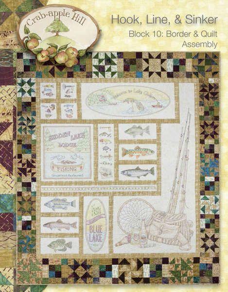Line Art Quilt Pattern Holly Hickman : Hook line and sinker crabapple hill complete set