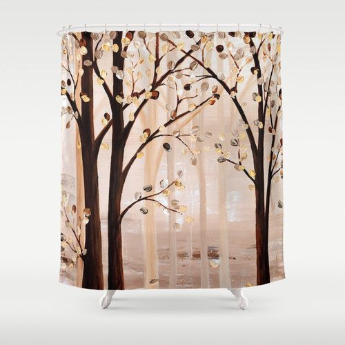 Unique Shower Curtain, Brown, Beige, Abstract Art, Trees, Bathroom Curtain, Bathroom Decor, Accessories, Designer Shower Curtain by DesignbyJuliaBars on Etsy https://www.etsy.com/listing/228046538/unique-shower-curtain-brown-beige