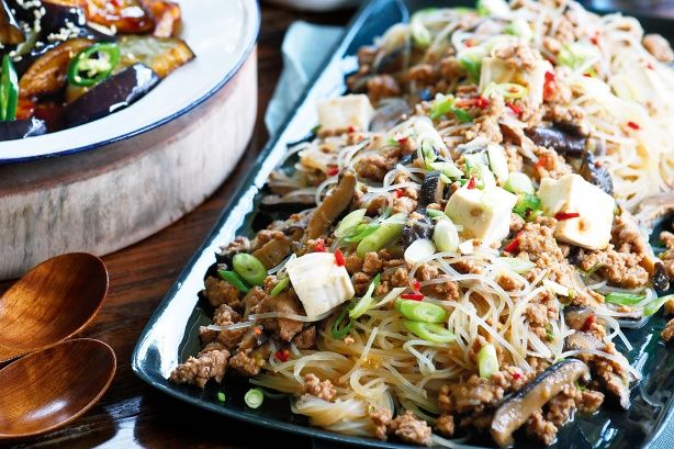 A sensation on tables across the world, Sichuan cuisine is seriously hot. Try this pork noodle dish as part of a banquet at home.