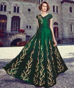 Buy Green Georgette Long Anarkali Salwar Kameez 72039 online at lowest price from huge collection of salwar kameez at Indianclothstore.com.