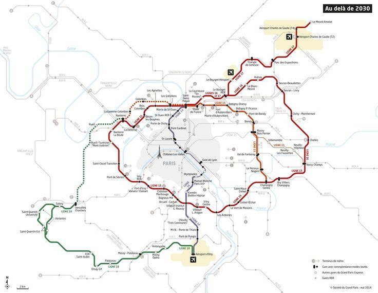 Une carte montrant les nouvelles lignes de métro du projet «Grand Paris Express» à l'horizon 2030. | 19 cartes qui vont vous faire voir Paris différemment