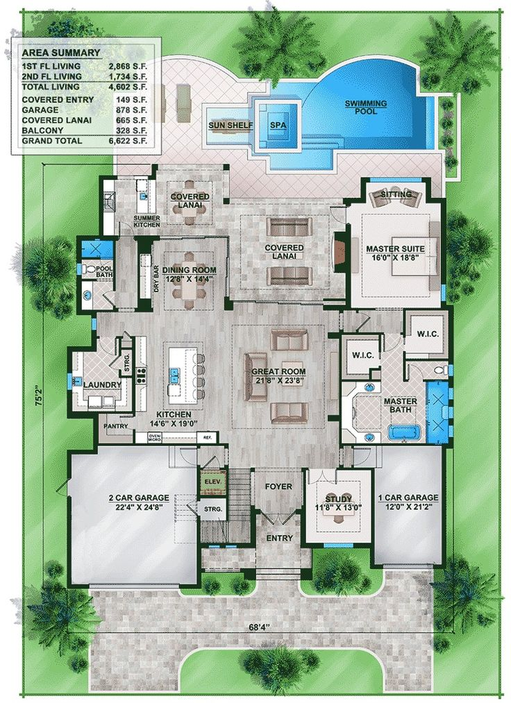 Florida House Plan with Second Floor Rec Room - 86024BW | 1st Floor Master Suite, Butler Walk-in Pantry, CAD Available, Den-Office-Library-Study, Elevator, Florida, Luxury, MBR Sitting Area, Media-Game-Home Theater, PDF, Southern | Architectural Designs