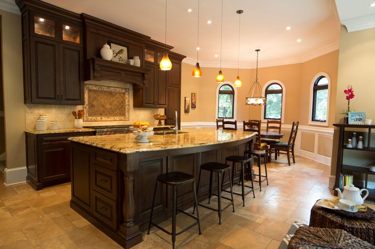 Traditional kitchen with high ceiling lapidus granite for Traditional mexican kitchen
