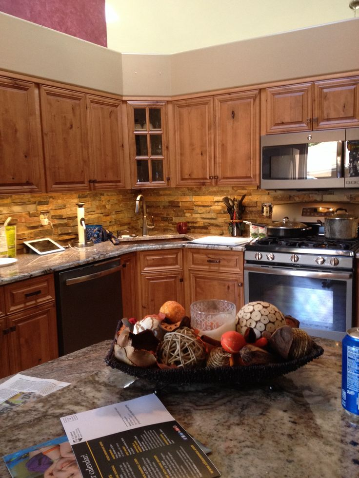 My Beautiful Kitchen Knotty Pine Cabinets Copper Sink And Accents Slate Appliances California