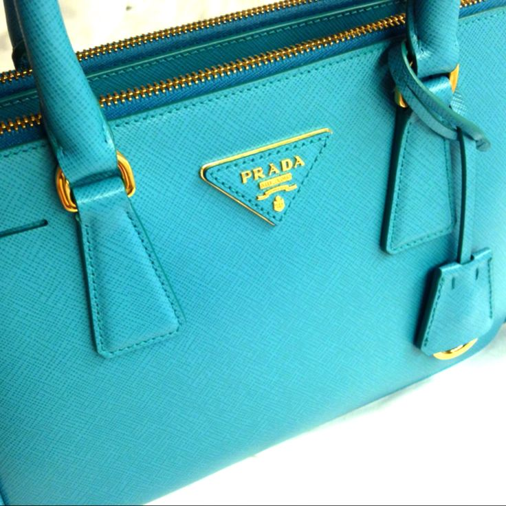 Turquoise #Prada #Saffiano Lux Tote. Because Neutral is Over-rated ...
