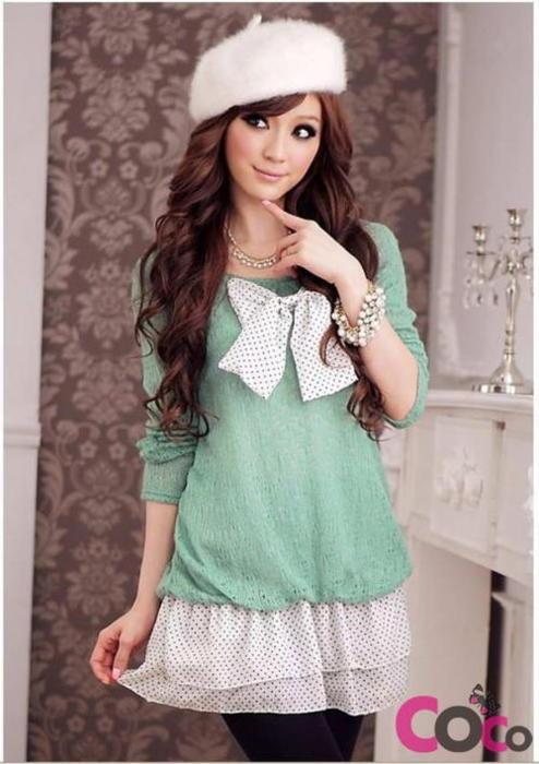 Swiss Dots Mini Layered Skirt And Bow Mint Sweater And Fuzzy Beret Harajuku Style Fashion