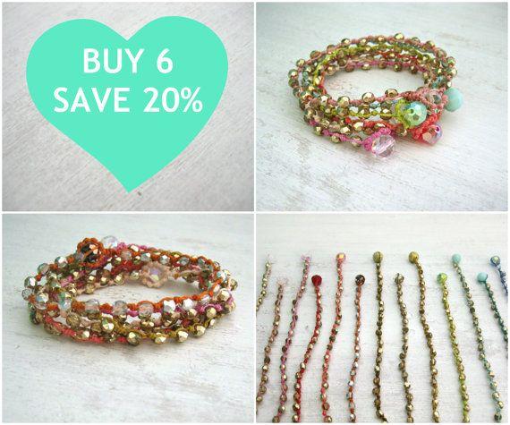 Set of 6 Bohemian Beaded Bracelets Save 20 by KrystenDesign, $96.00