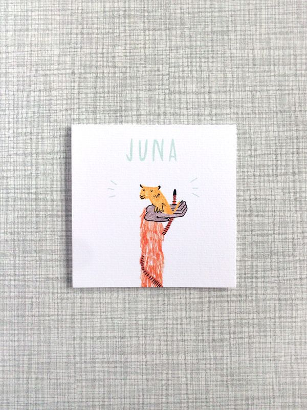 Birth announcement card for baby Juna / Made by Marianne Lock / baby card / illustration