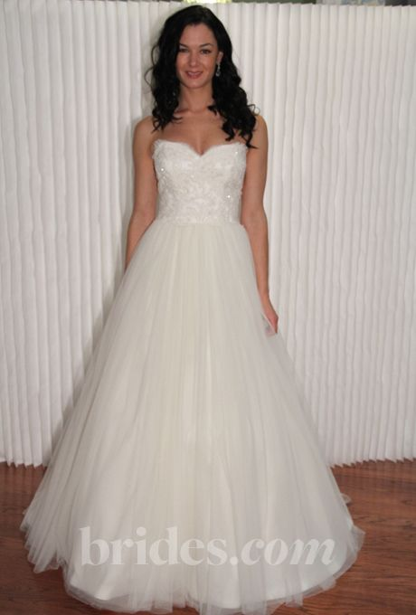 """Brides.com: Modern Trousseau - Fall 2013. """"Ginny"""" strapless ball gown wedding dress with a sweetheart neckline and embellished bodice, Modern Trousseau  See more Modern Trousseau wedding dresses in our gallery."""