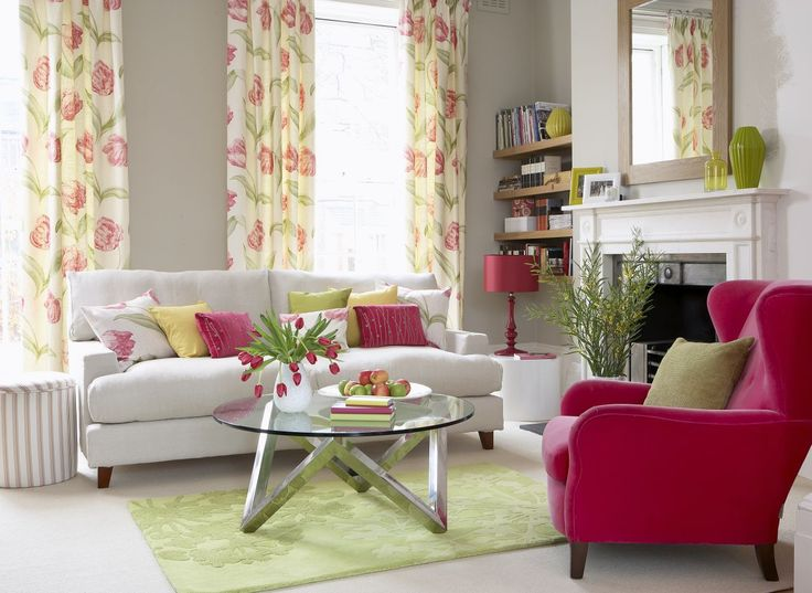Contrast Bright Raspberry Pink With Zesty Green To Create An Uplifting Living Room Photography