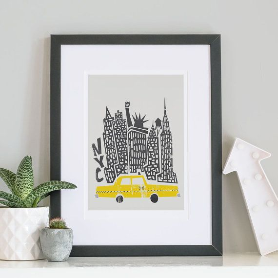 New York City Print, Christmas Gift, NYC, City Skyline, Celebrations, Retro Decor Ideas, Gift For Brother, Yellow Cab Poster, Buildings