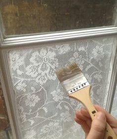 ''Add lace to your window with cornstarch for privacy'' great idea!