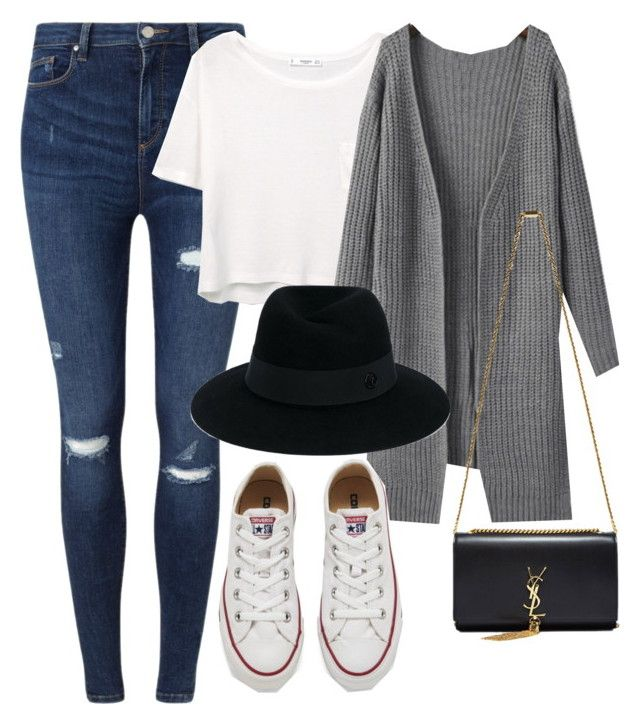 """""""Untitled #776"""" by r0sesandtea ❤ liked on Polyvore featuring Miss Selfridge, MANGO, Yves Saint Laurent, Converse and Maison Michel"""