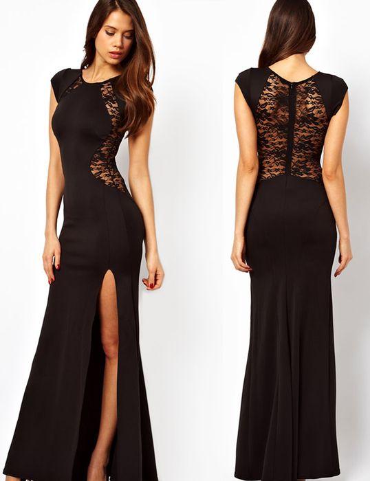 Zwarte maxi jurk met mooie kanten details. De jurk heeft korte mouwen en is voorzien van een hoge split op een been. De jurk is mooi getailleerd en valt goed op het lichaam.  Stof: Polyester  Lengte: 145cm (gemeten vanaf de schouders) Verkrijgbaar voor €44,95.