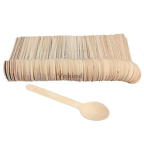 100 шт. экономические деревянной ложкой западная одноразовые ложки посуда…