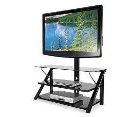"44"" Swivel Black Glass TV Stand - Big Lots"
