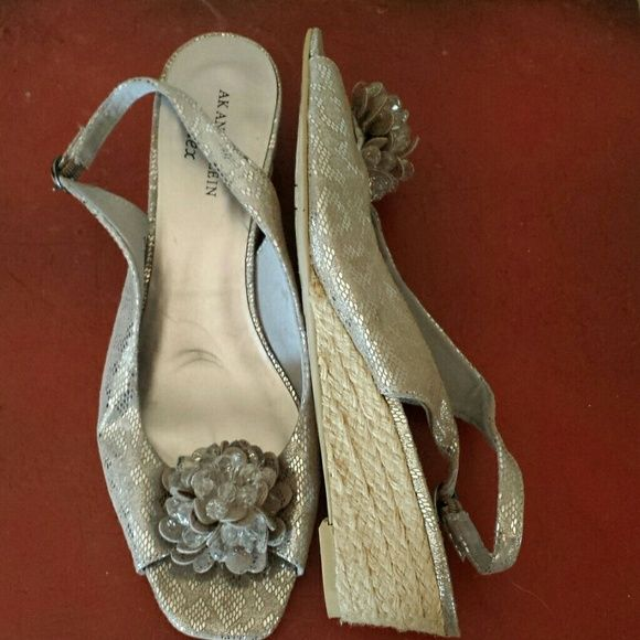 Anne Klein silver espadrilles Cute and classy silver heel strap sandals. Gently worn, great condition. Anne Klein Shoes Espadrilles
