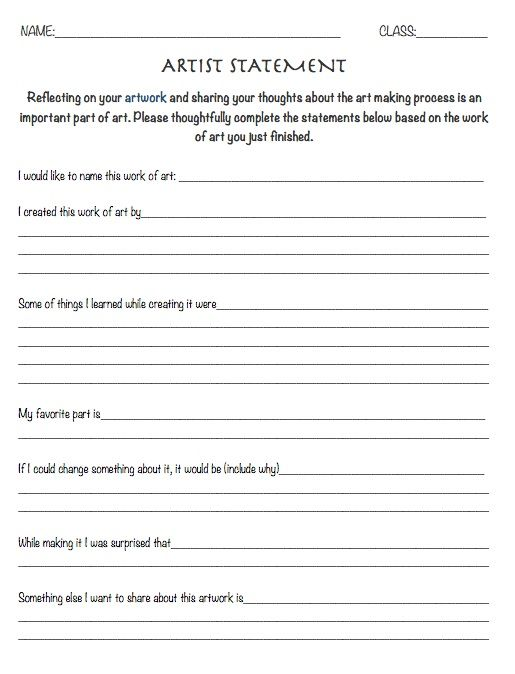 Resource: Artist Statement Worksheet - reflection sheet art education, art lesson review