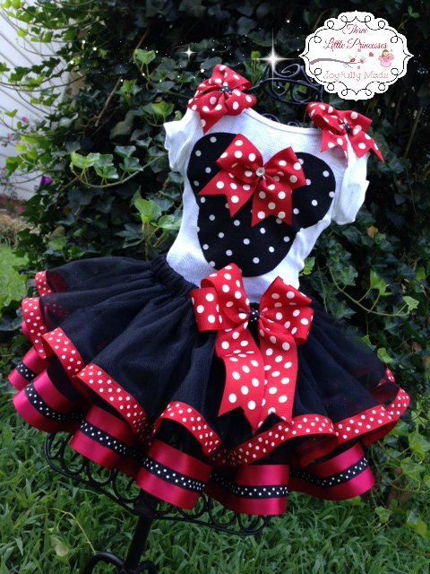 Deluxe Minnie Mouse Ribbon Tutu Outfit by joyfullymadeboutique