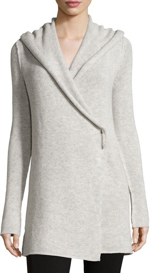 Vince Hooded Knit Sweater, Heather Gray