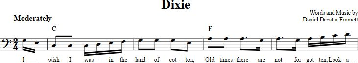 Dixie sheet music with chords and lyrics for bass clef instruments including bassoon, cello, trombone, and others. View the whole song at http://chordzone.com/music/bass-clef/dixie/