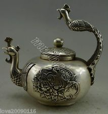 Collectible Decor Old Handwork Silver Plate Copper Carved Phoenix Flower Tea Pot