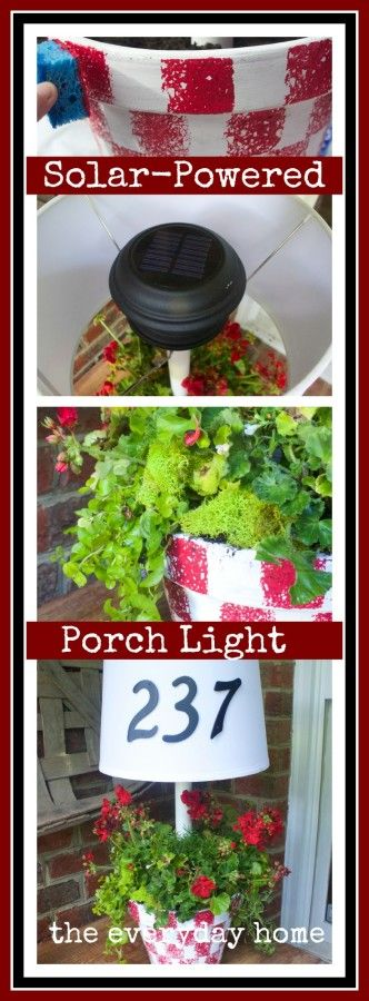 Solar Light Lamp Planter by The Everyday Home  www.everydayhomeblog.com