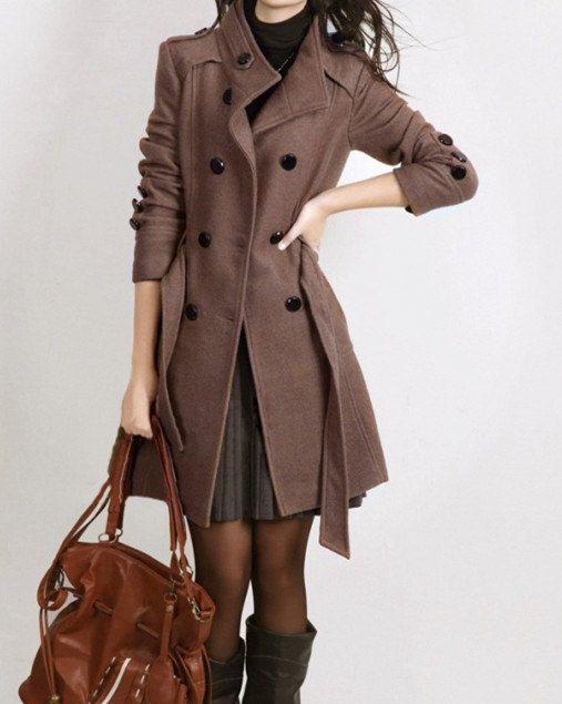 Black Women coats OL Wool coat Cashmere winter by AngelCity2012