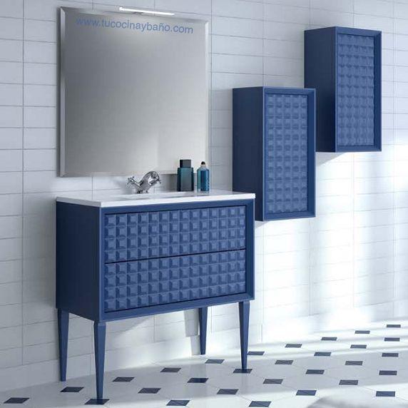 Mueble de ba o con textura capiton en acabado azul for Muebles de bano azul