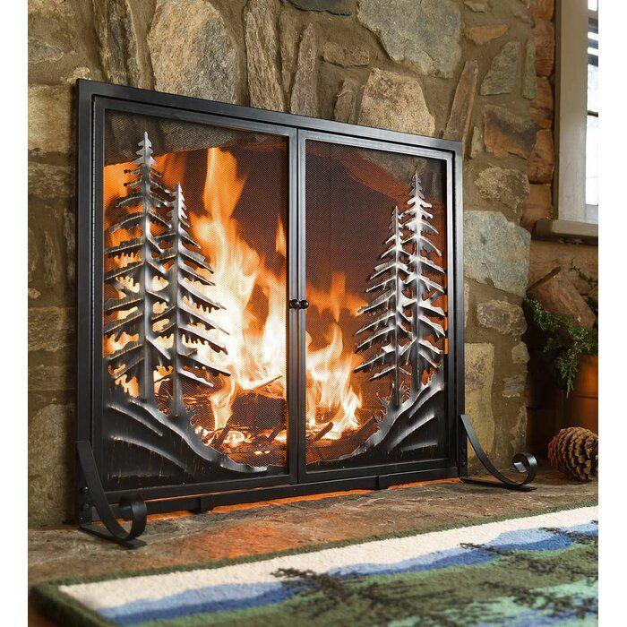 Alpine Double Panel Steel Fireplace Screen Decorative Fireplace Screens Fireplace Screens With Doors Modern Fireplace Screen