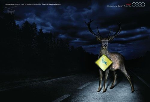 `: Design Inspiration, Advertising Campaign, Bi Xenon Lights, Creative Advertising, Audi Bi Xenon, Ads Marketing, Clever Designs, Creative Ads, Deer