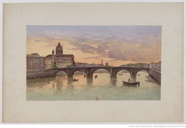 Veduta della Chiesa di Castelli Firenze : [vue du Ponte alla Carraia et de la Basilique San Lorenzo de Florence] : [peinture] / J. Vervloet
