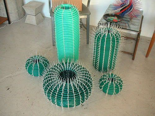 garden hose & cable ties, I thought they were real cacti
