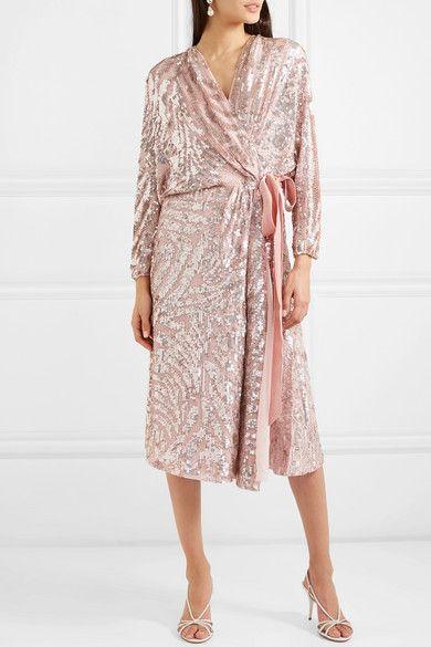 d32840f2 Jenny Packham | Lamour velvet-trimmed sequined chiffon wrap dress |  NET-A-PORTER.COM