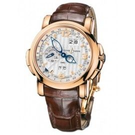 Professional Ulysse Nardin GMT +/- Perpetual Rose Gold Silver Wave Dial 326-60/60