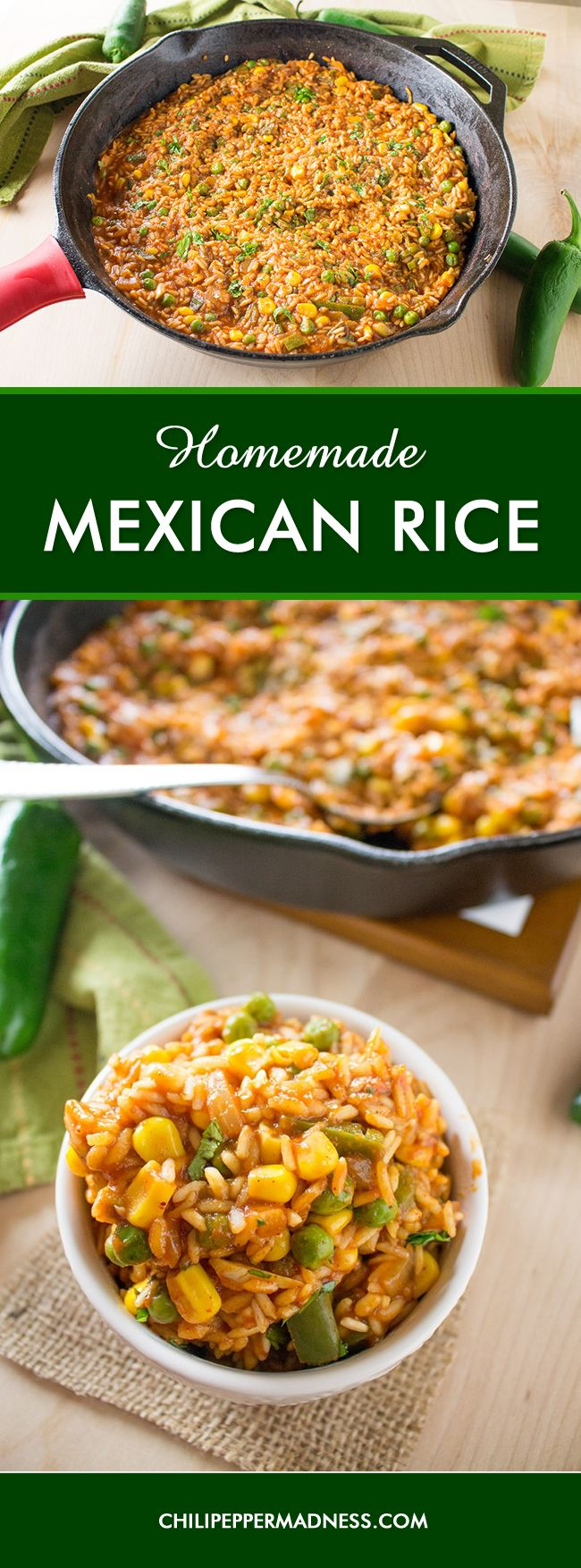 Homemade Mexican Rice Recipe -  Make this authentic, homemade Mexican rice for your next fiesta then step back as your guests go loco with flavor.
