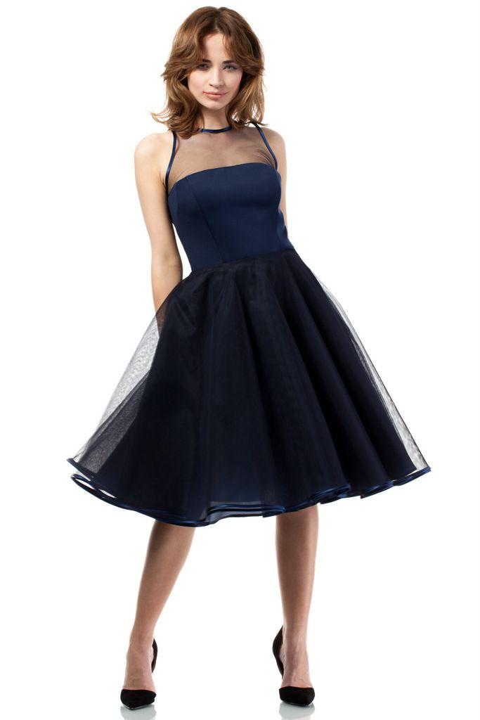 MOE Wieczorowa rozkloszowana sukienka midi z tiulowym karczkiem MOE148 granatowa - BESTSELERY 24 - Sklep z odzieżą damską Arkany mody