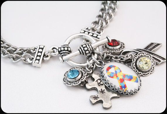 Autism Awareness Charm Bracelet Autism by BlackberryDesigns, $58.00