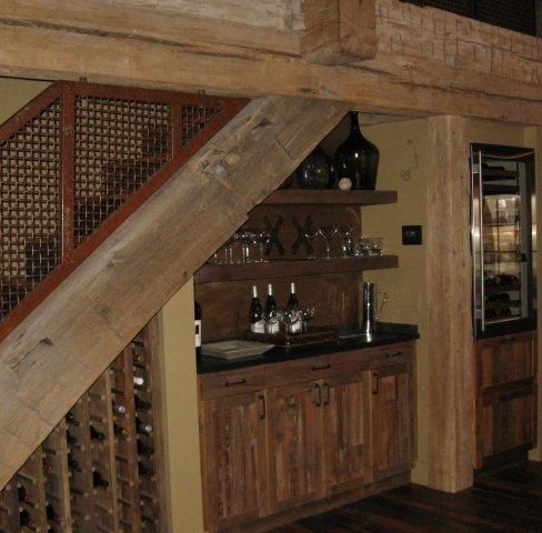 Custom made reclaimed lumber bar wine rack refrigerator for Custom wine bar