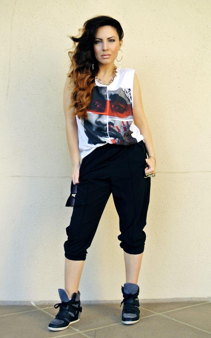 Street Wear, Urban Fashion, LA Street Style, Thug Life, How To Be a Thug, Tupac Shakur Tee, 2Pac T-Shirt, Latina Blogger, Hiphop Fashion, Wedge Sneakers, Cassie Style, How To Look Like Cassie. fashion:pants
