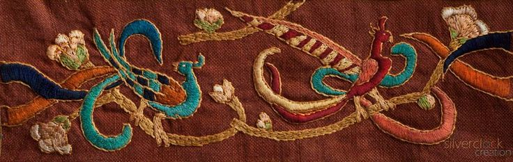 Birds and flowers embroidery by hand - silverclock handwork