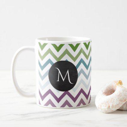 Jewel Tones Chevron Monogram Coffee Mug - chic design idea diy elegant beautiful stylish modern exclusive trendy
