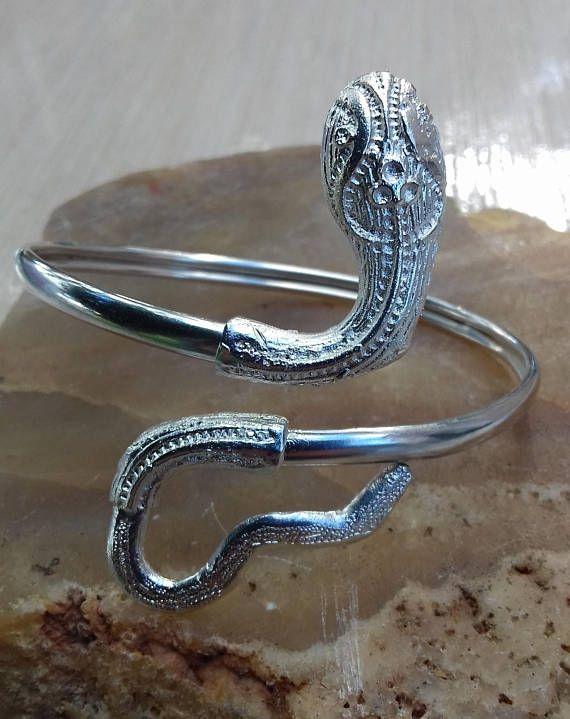 Silver snake cuff bracelet Snake bracelet Silver Boho bracelet