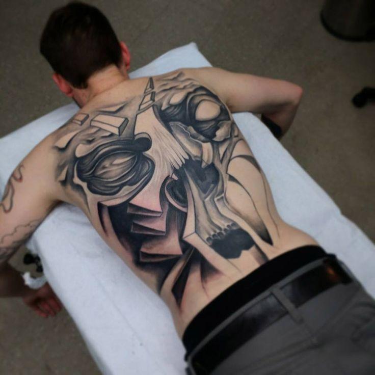 Men's Back Tattoo Skull