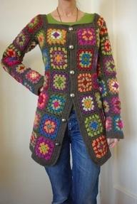 crochet granny square coat patterns - Google Search