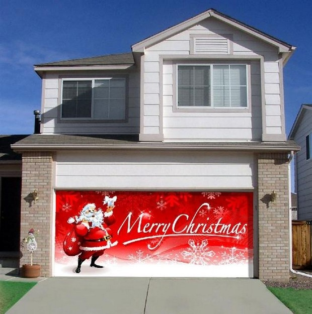 Christmas garage door cover contact the overhead door for Christmas garage door mural