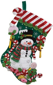 Candy Snowman Stocking Felt Applique Kit