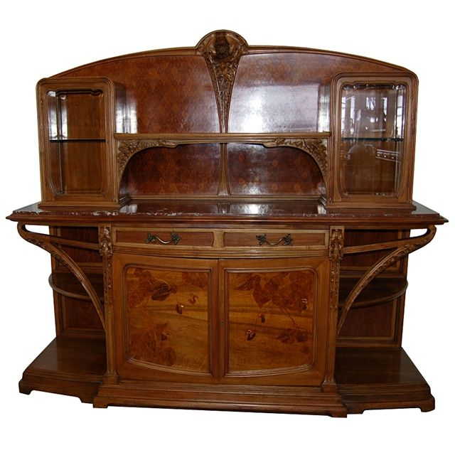"""Incredible inlaid walnut Art Nouveau """"Chicoree"""" buffet server decorated with inlaid backboard and marquetry front doors with flowering poppies and inlaid abalone and bronze ormolu handles. This piece is pictured in Louis Majorelle Masters of Art Nouveau Design by Alastair Duncan on page 180 fig. 54."""